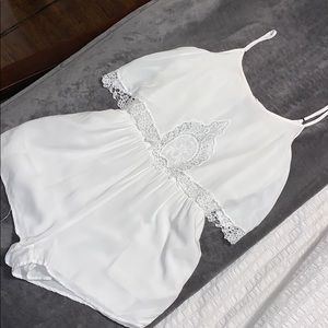 White lace bottom lined romper
